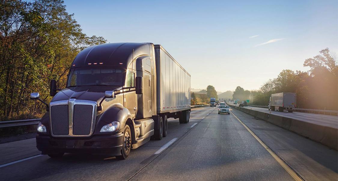 Truck in morning traffic